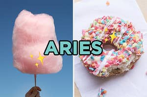 "On the left, some cotton candy, and on the right, a donut with Fruity Pebbles and icing on top labeled ""Aries"" with sparkle emojis around it"