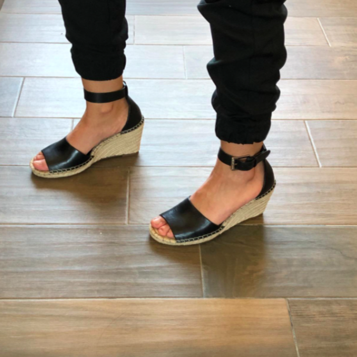 Reviewer's side view to show low wedge heel
