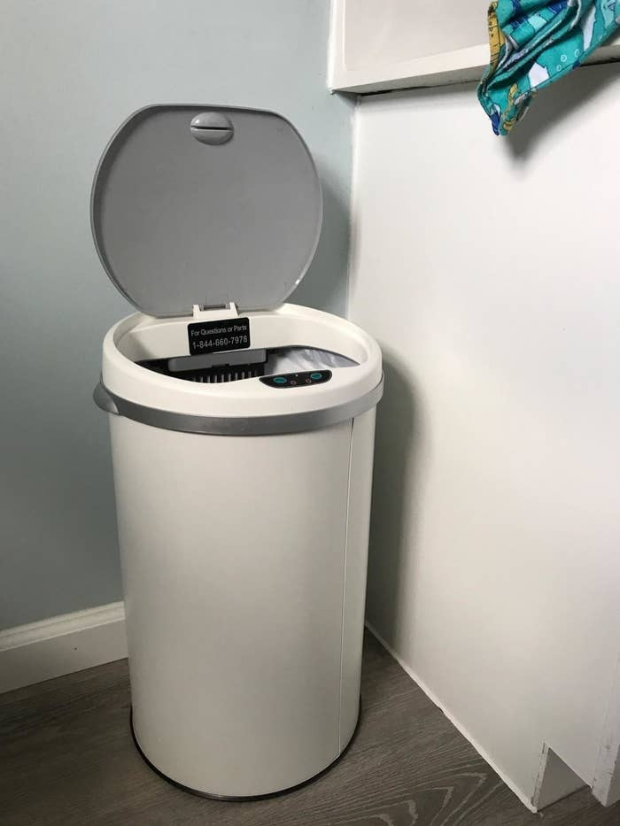 """The trash can, with its lid in the """"open"""" position"""