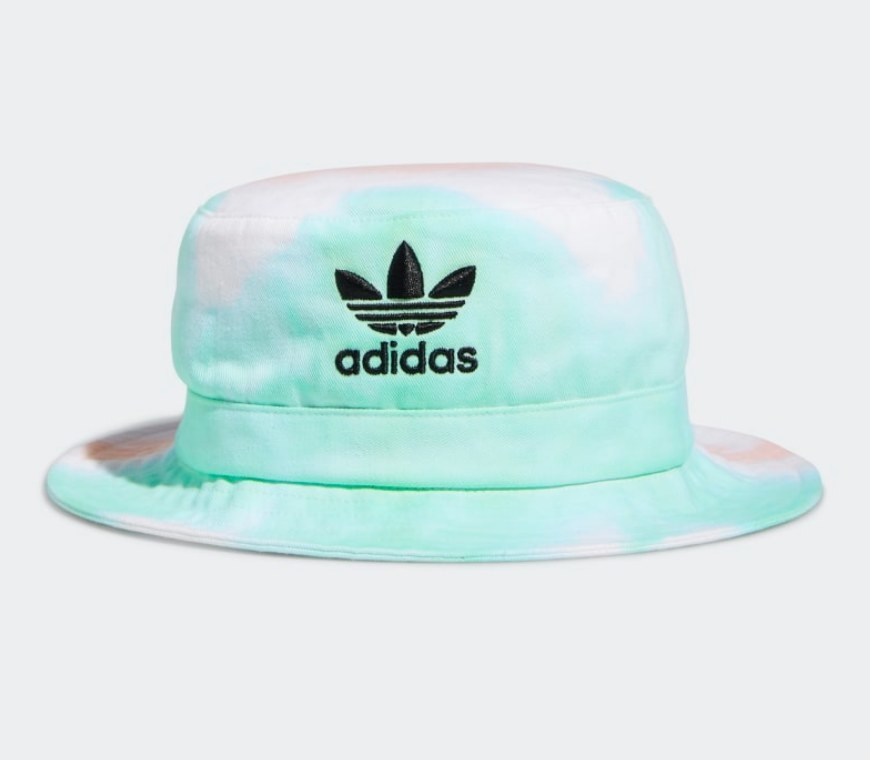 Green and pink bucket hat with adidas logo