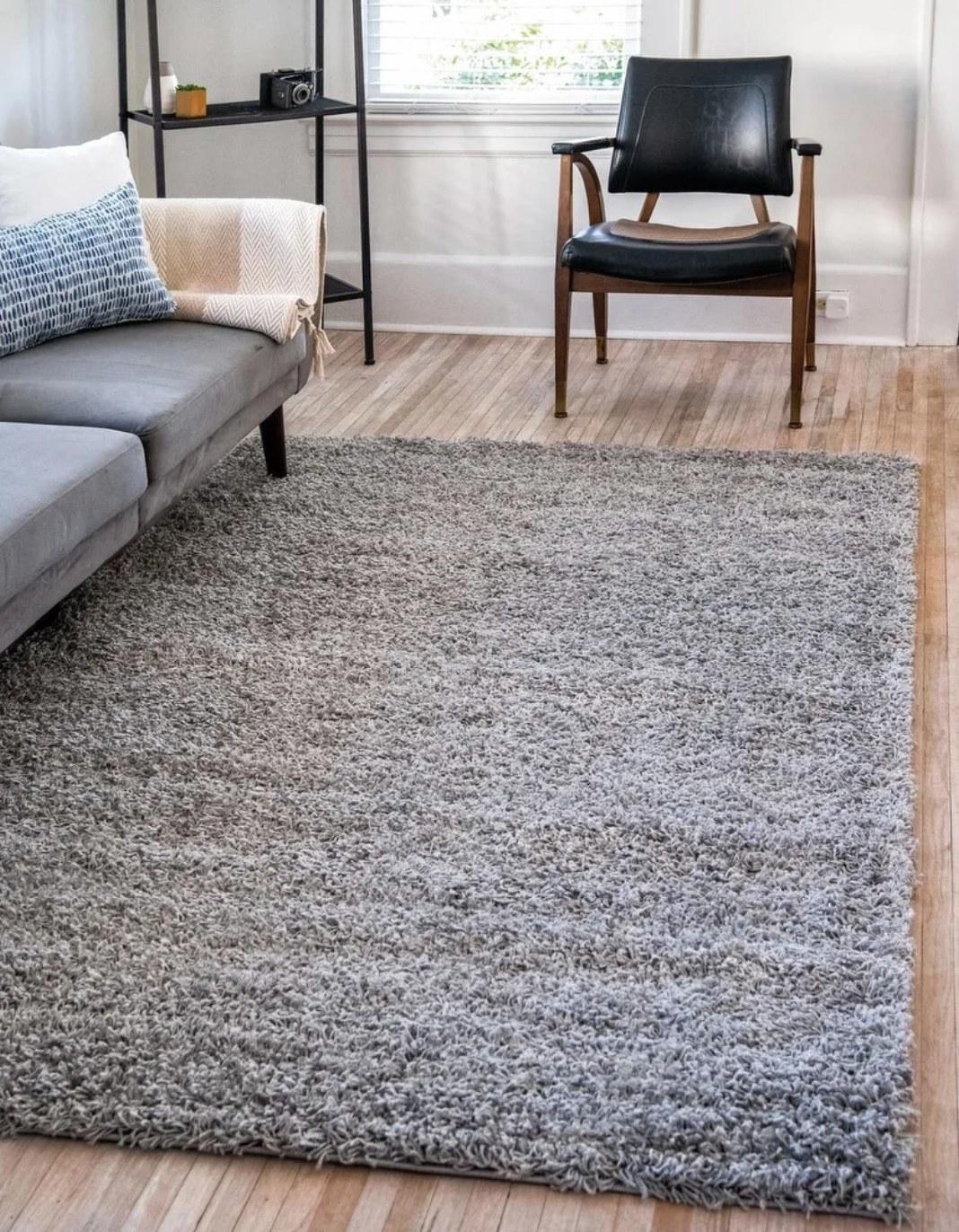 The shag rug on a hardwood floor