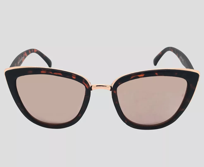 the cat eye glasses with tortoiseshell frames and gold details