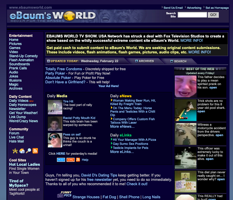 Outdated webpage with link under the categories daily media and best of the web