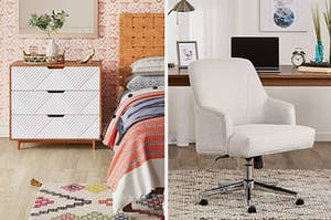 A split photo of a wooden nightstand with textured white drawers and an ivory office chair with studded details that's on wheels