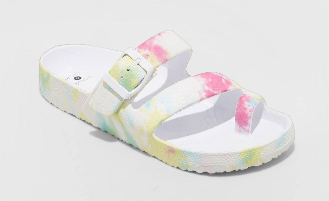 Tie dye toe ring slide sandals
