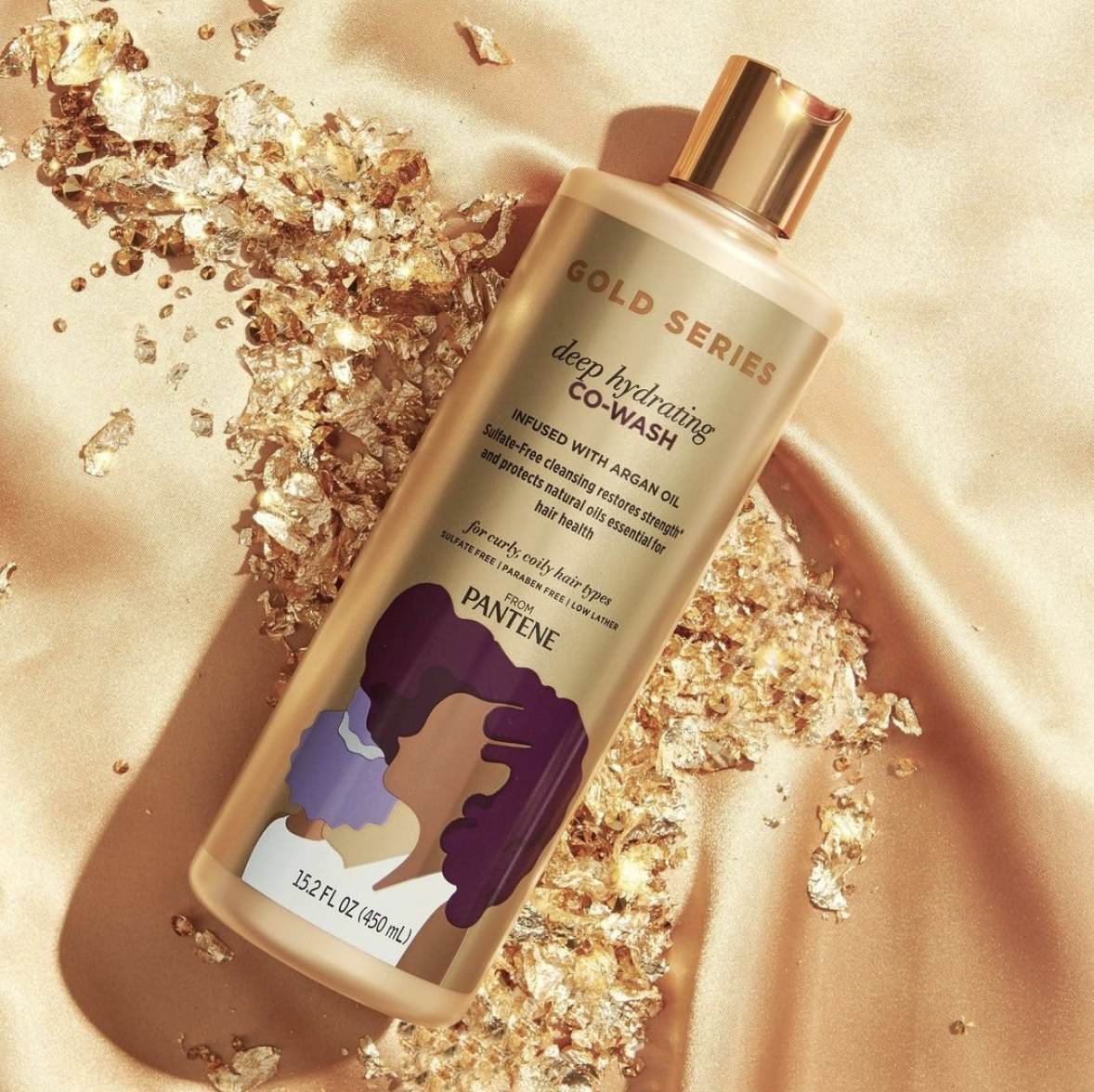 A gold bottle of cleansing conditioner