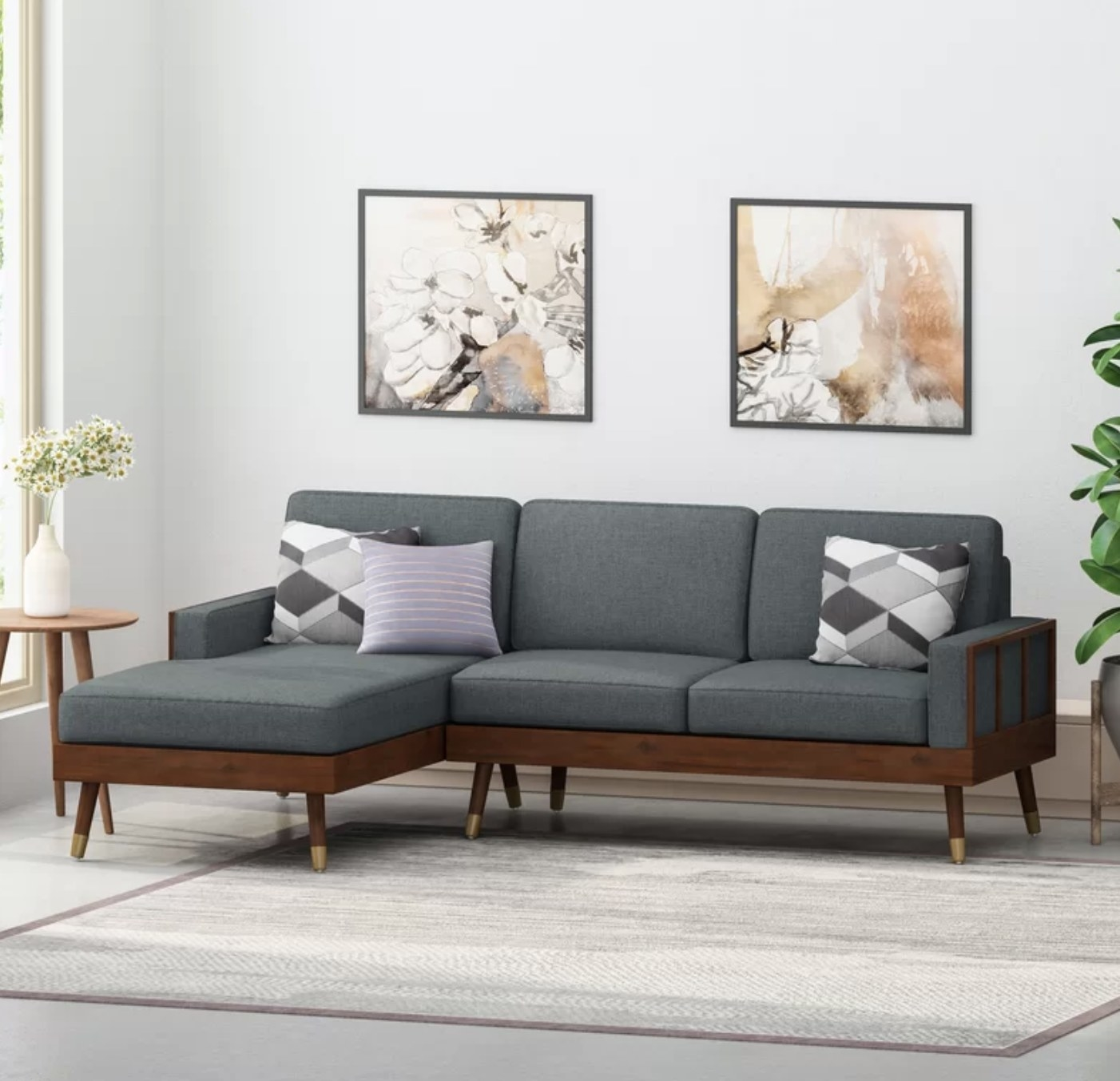 the sectional in charcoal