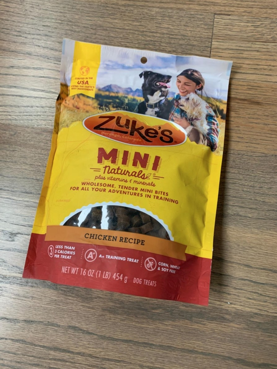 The reviewer's image of the pack of training treats