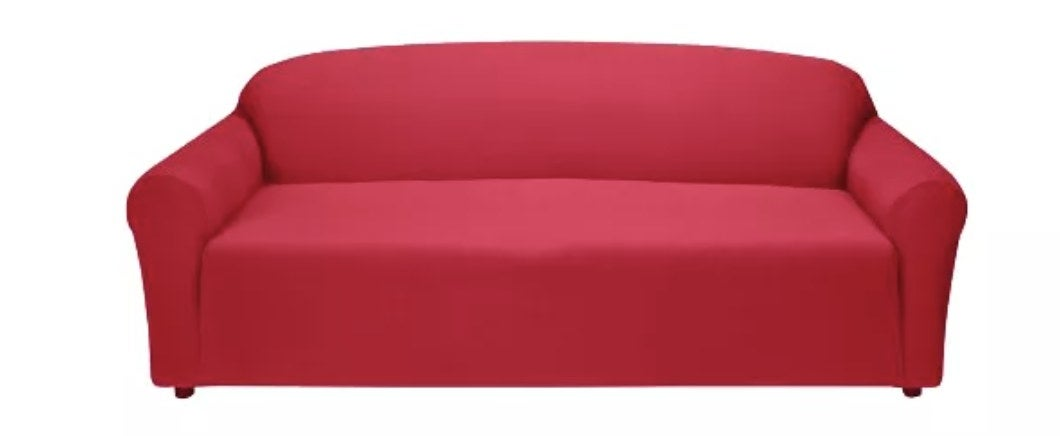 A red couch slipcover