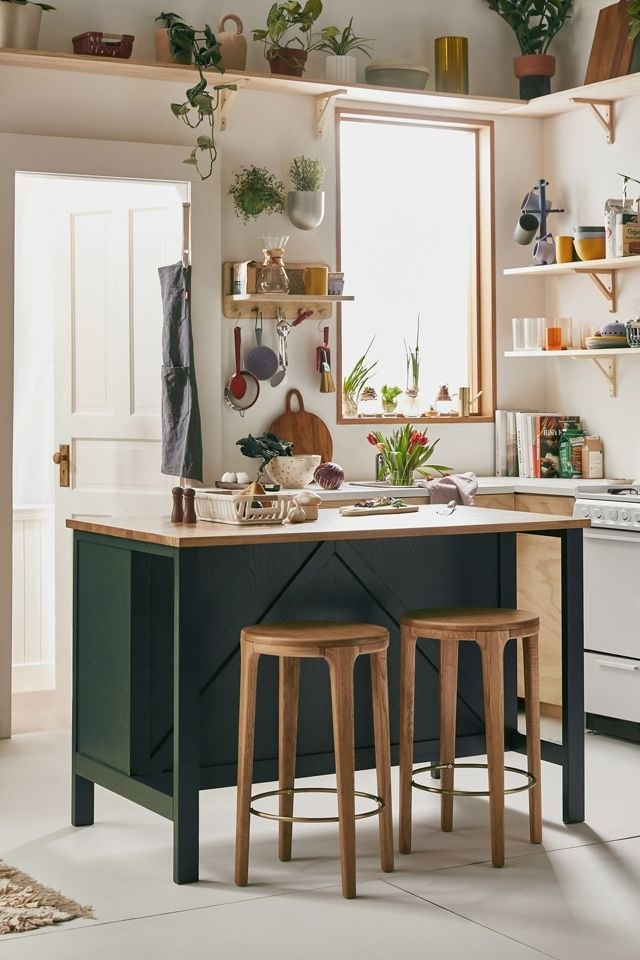 The island in a kitchen with two stools