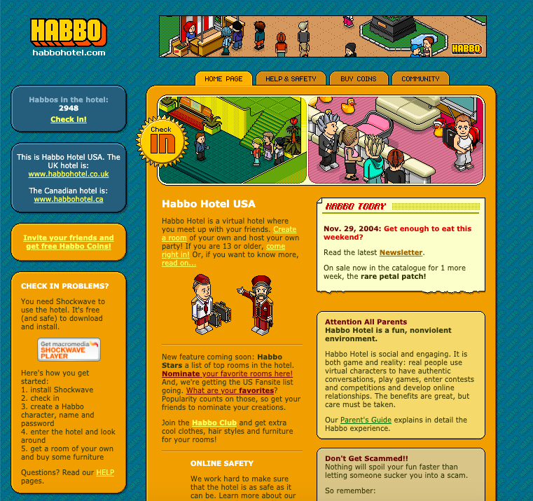 A check in page for the Habbo Hotel
