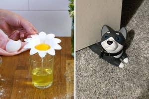 (left) Flower egg yolk separator (right) Dog door stop