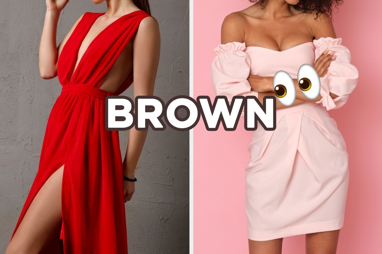 "On the left, someone wearing a long dress with a deep v, and on the right, someone wearing an off-the-shoulder dress with ruffly sleeves with ""Brown"" typed on top and the eyes emoji places next to it"