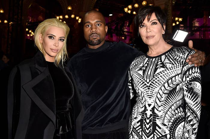 (L to R) Kim Kardashian, Kanye West and Kris Jenner attend the Balmain show as part of the Paris Fashion Week Womenswear Fall/Winter 2015/2016