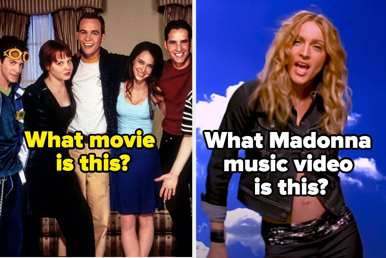 "Teens with the words ""What movie is this?"" and Madonna with the words ""What Madonna music video is this?"""