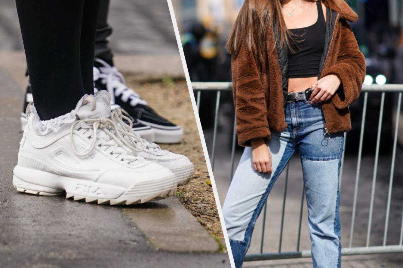 Chunky white sneakers and patchwork jeans
