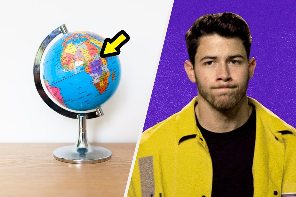 Globe with arrow and Nick Jonas looking confused
