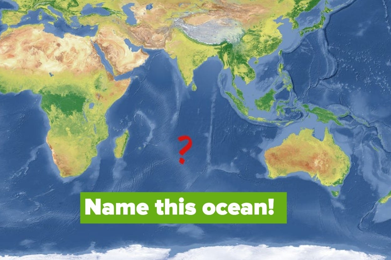 """Map of south-western hemisphere with the words """"Name this ocean!"""""""