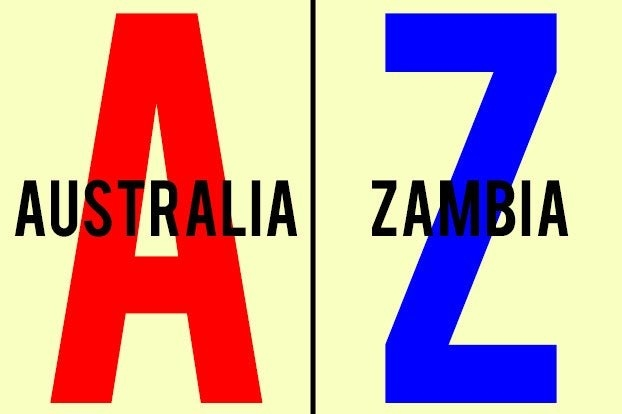 """A with the word """"Australia"""" and Z with the word """"Zambia"""""""