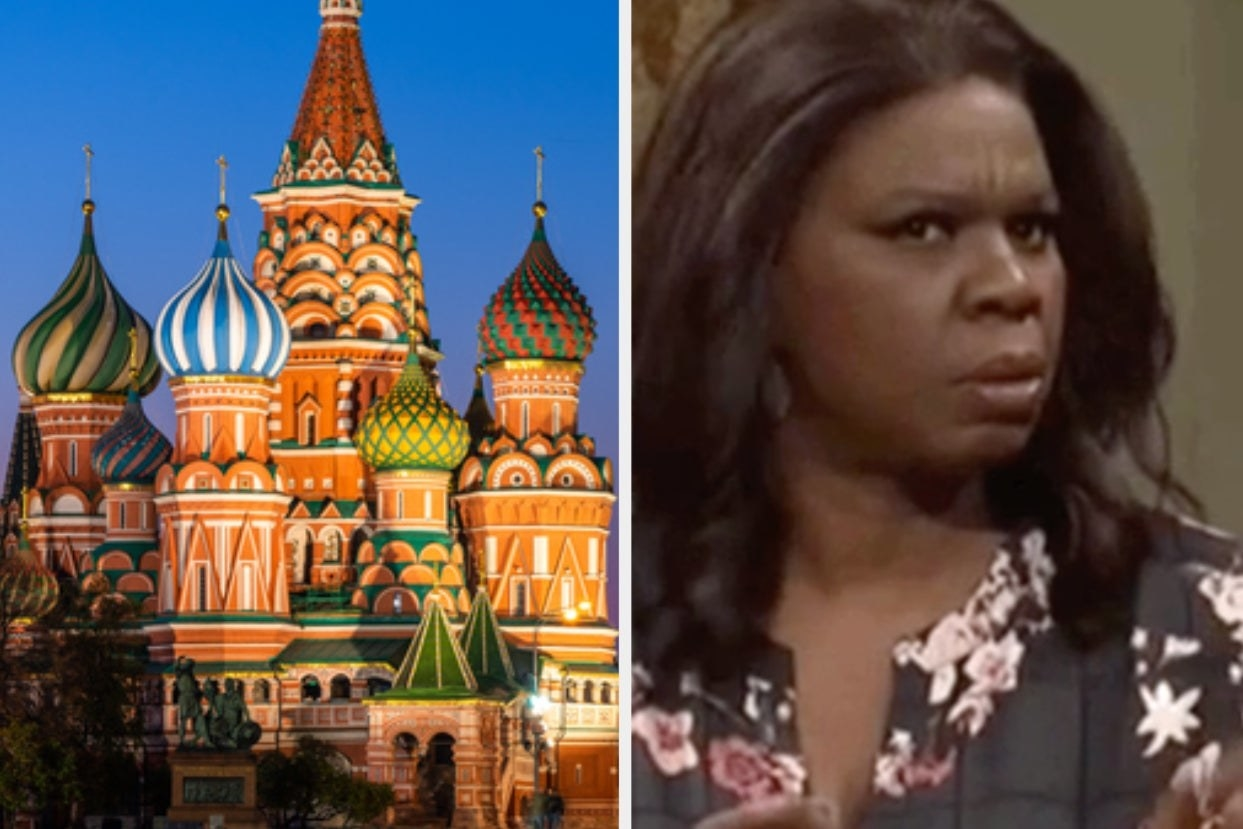 Side-by-side images of St. Basil's Cathedral and a confused Leslie Jones from SNL