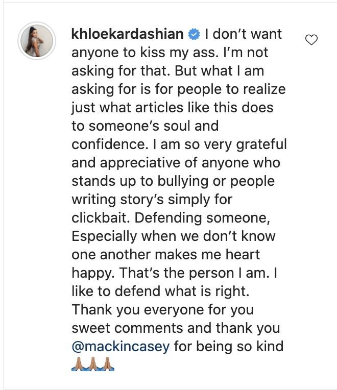 A screenshot of Khloe's comment