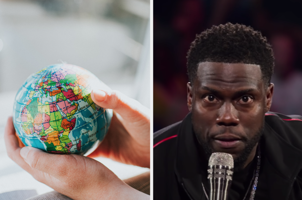 Globe in hands and confused Kevin Hart