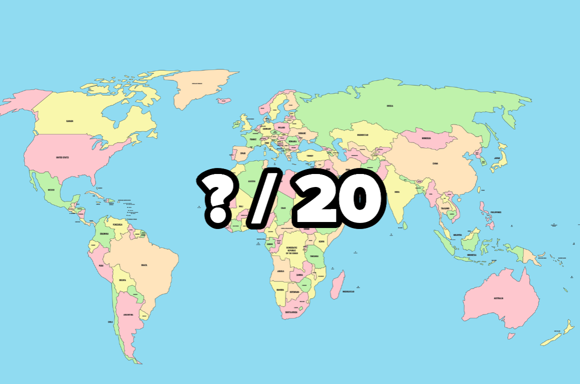 """World map with the image """"?/20"""""""