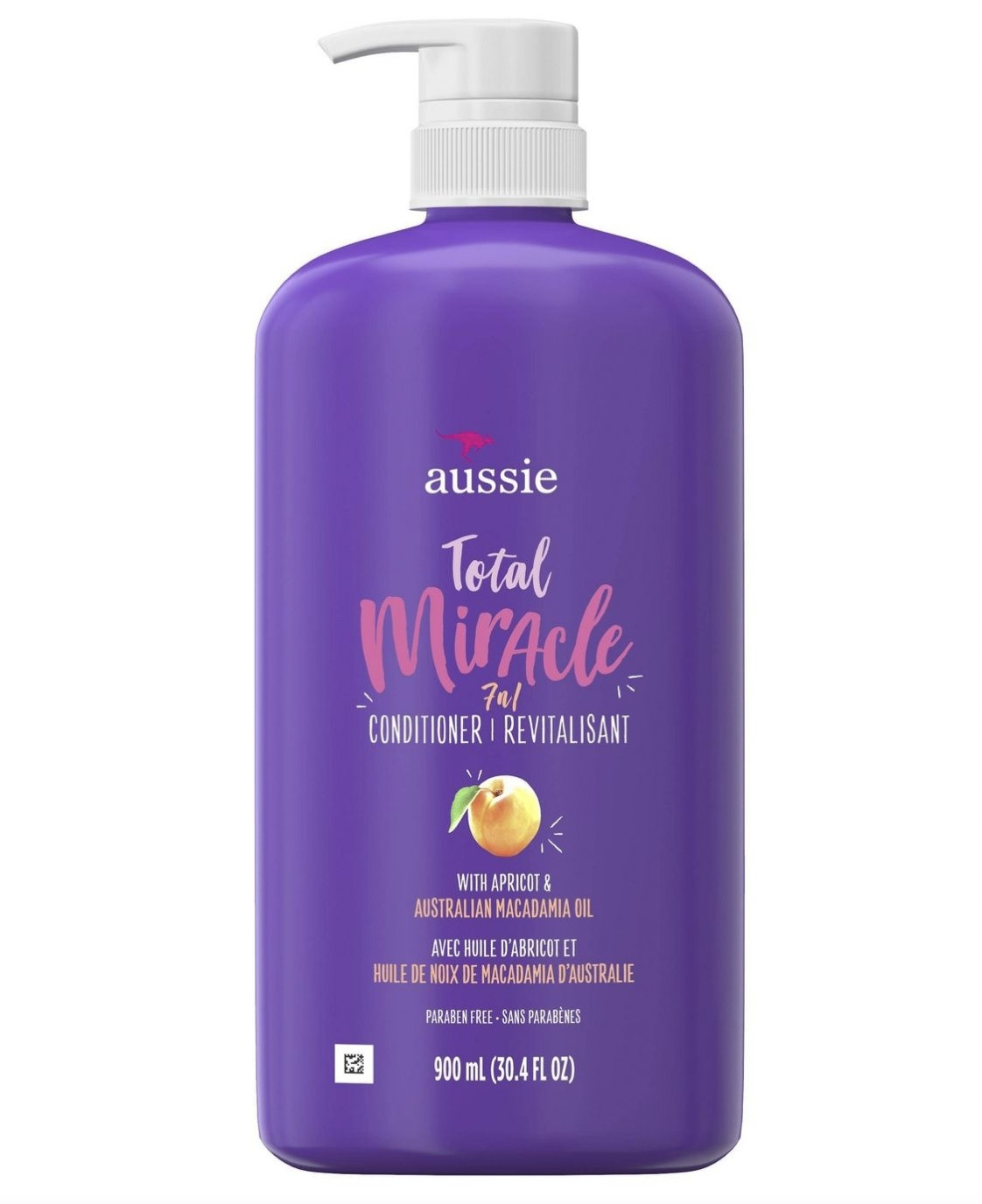 A purple bottle of conditioner