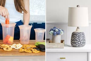 A split photo of three food storage containers and a small ceramic table lamp
