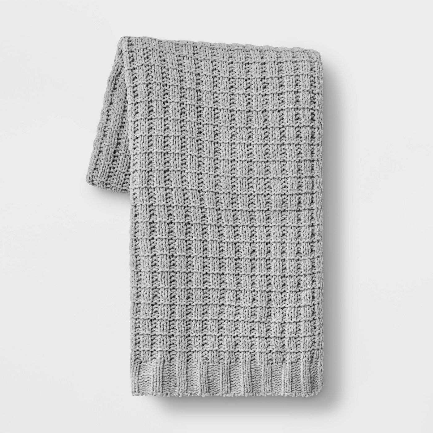 grey chenille throw blanket