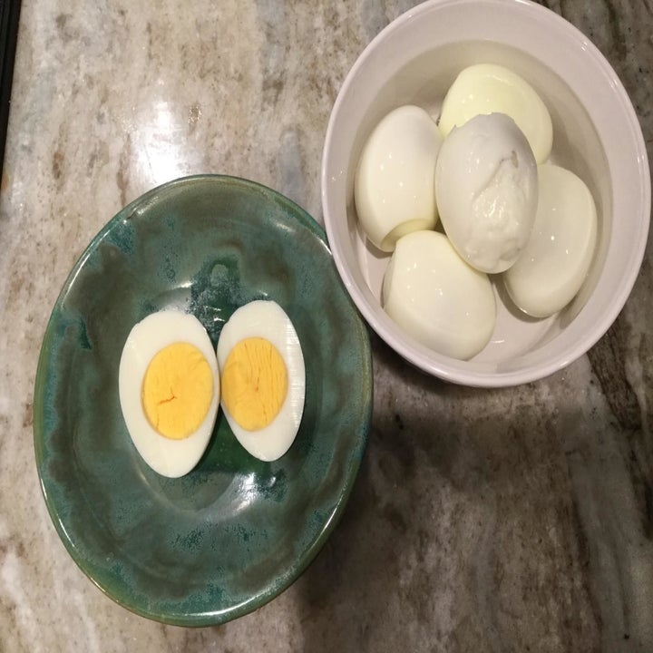 Hard-boiled eggs that have been cooked inside the cooker