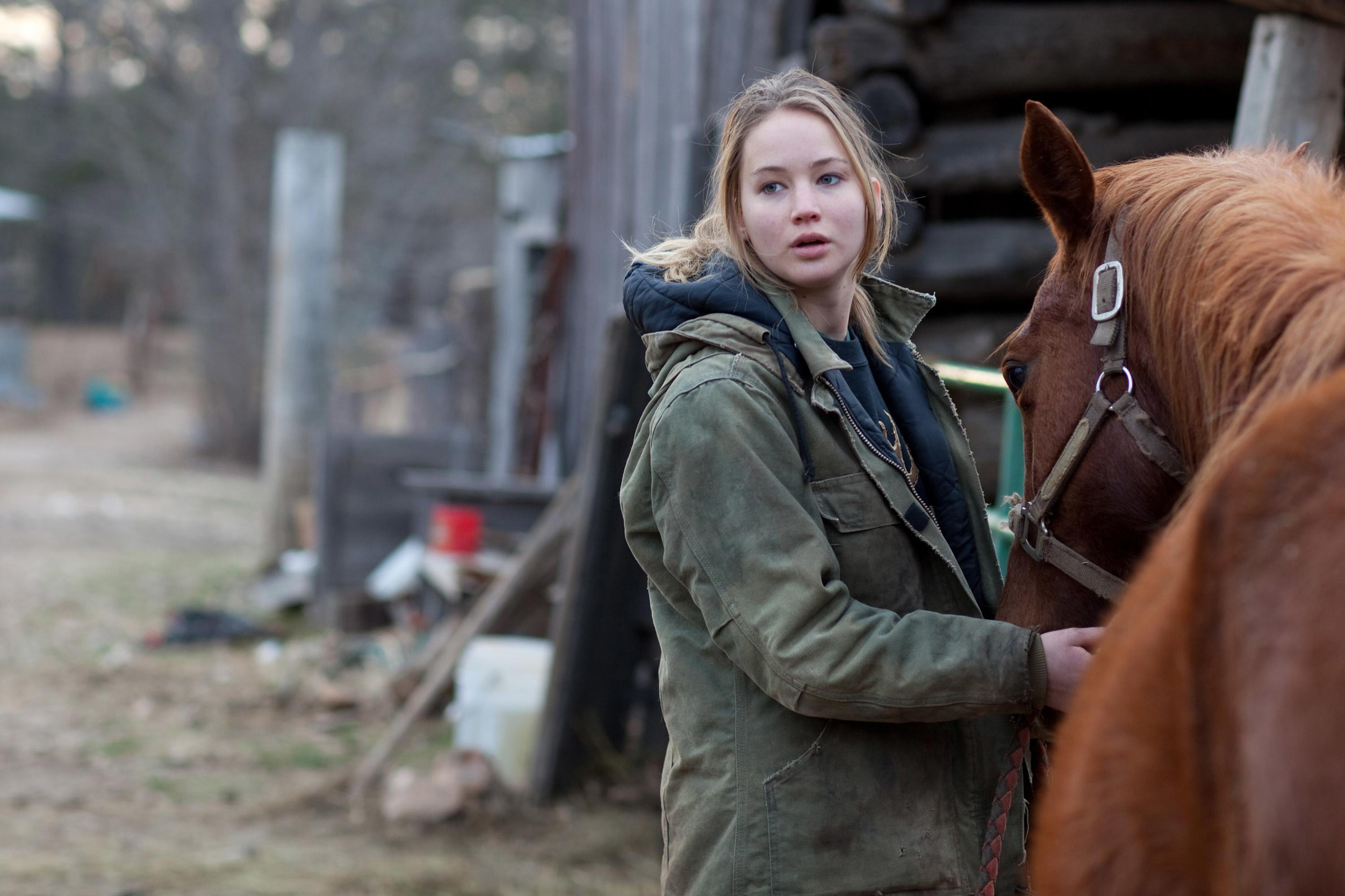 Jennifer in the film with a horse
