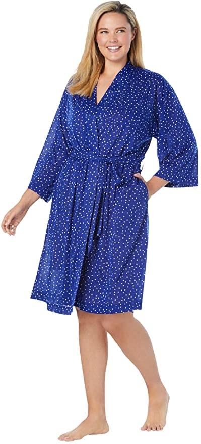 plus size model wearing a lightweight knee length robe