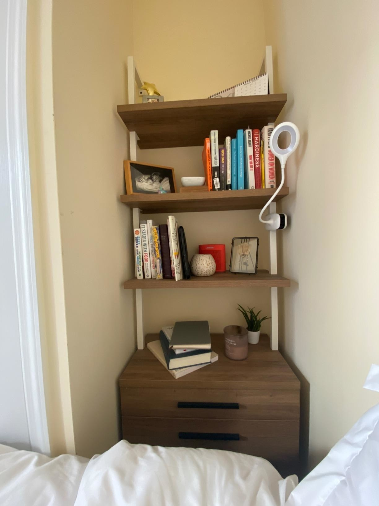 The bookshelf, mounted to a wall, with three wooden shelves between metal pipes, and a two-drawer dresser at the bottom