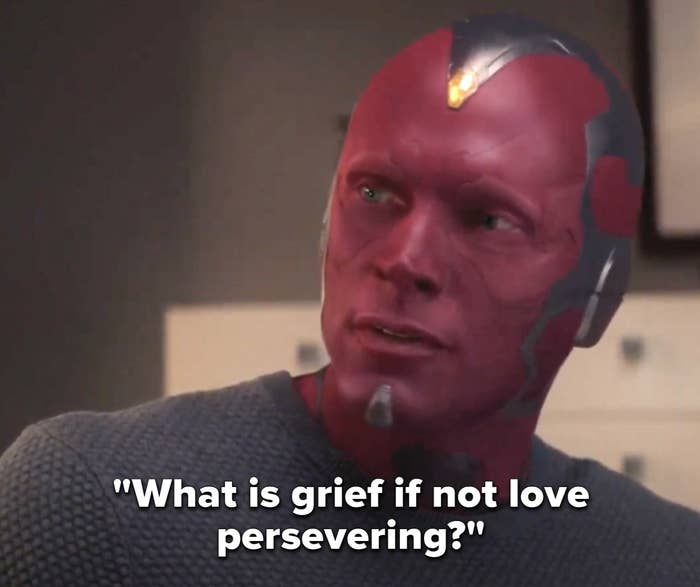 "Vision saying ""What is grief if not love persevering"" on Wandavision"
