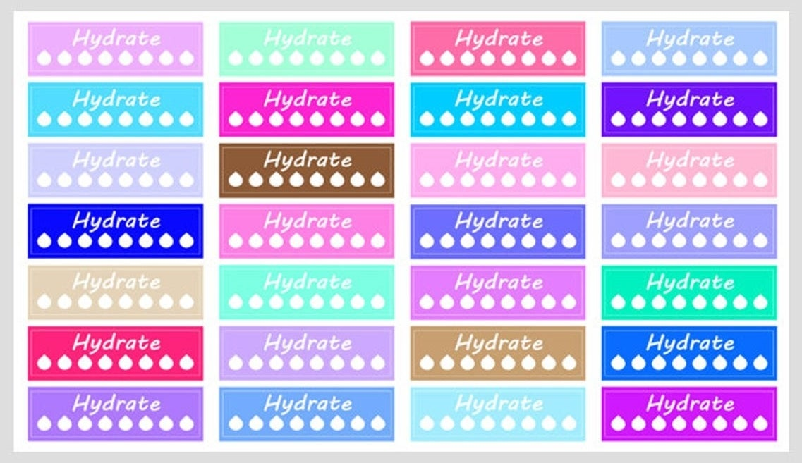 """A sheet of hydrate stickers with the word """"hydrate"""" and eight water drops to fill on each sticker"""