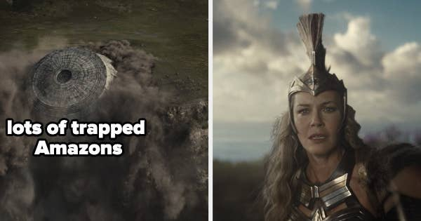 On the left there are Amazons trapped and on the right Hippolyta looks on in anguish
