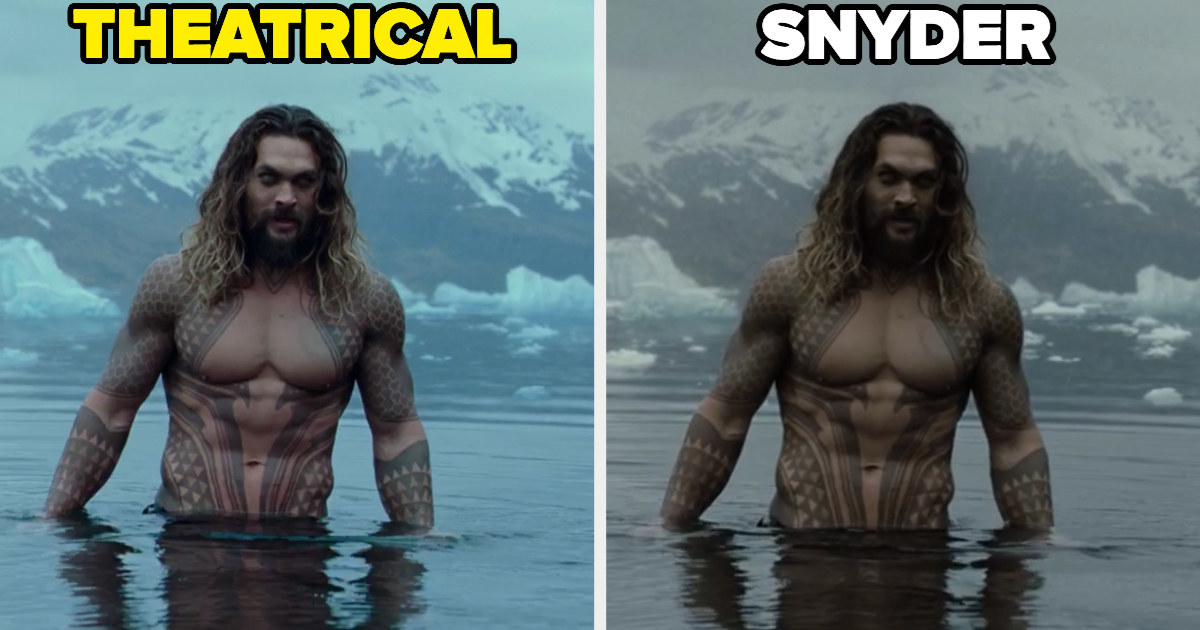 Aquaman's theatrical introduction on the left and the Snyder version on the right with a different color palette