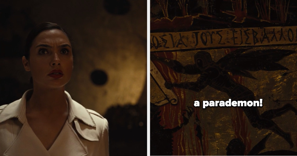 "Diana on the left and a closeup of the cave painting on the right with the caption, ""a parademon!"""