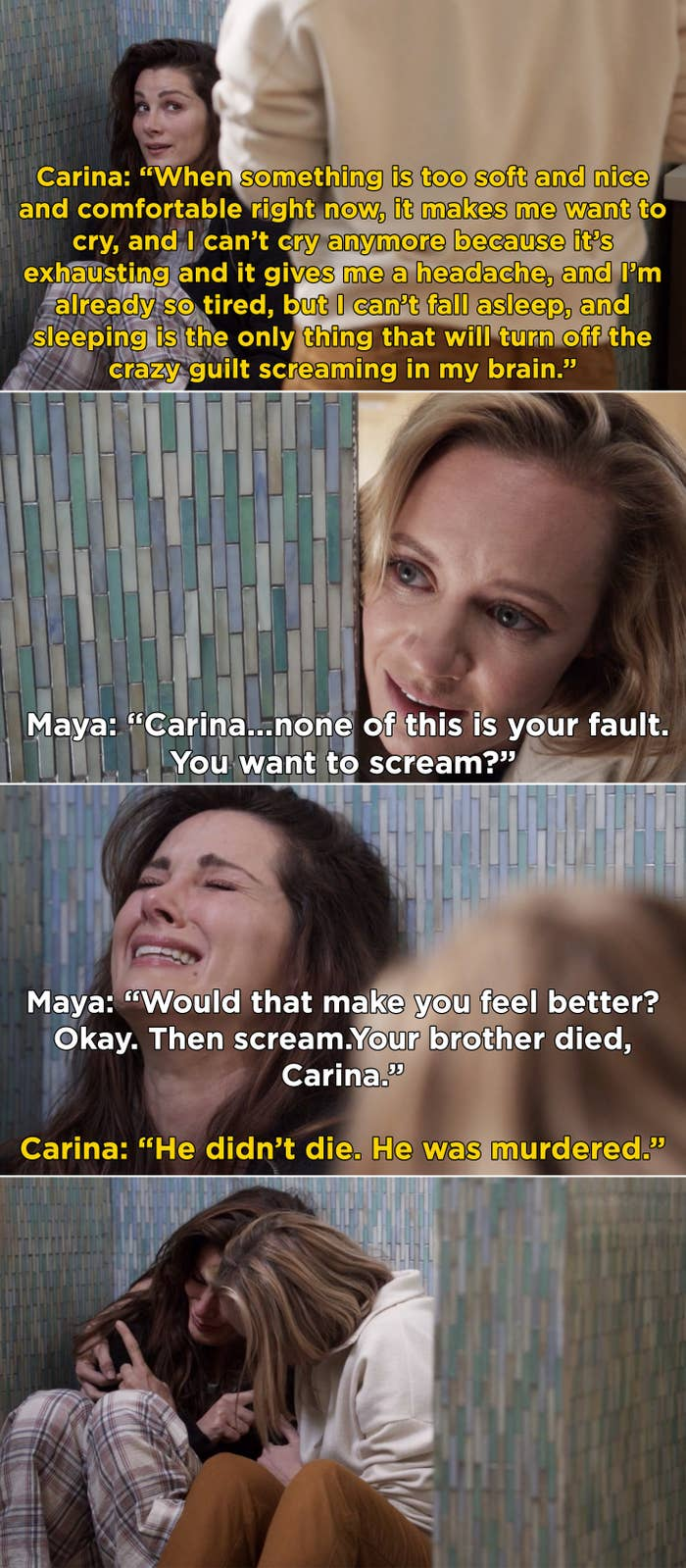"""Carina telling Maya that she can't sleep because it's """"too soft"""" and she'll just start crying"""