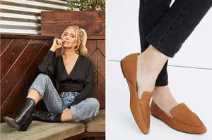 to the left: a model in a black satin top, to the right: leather loafers