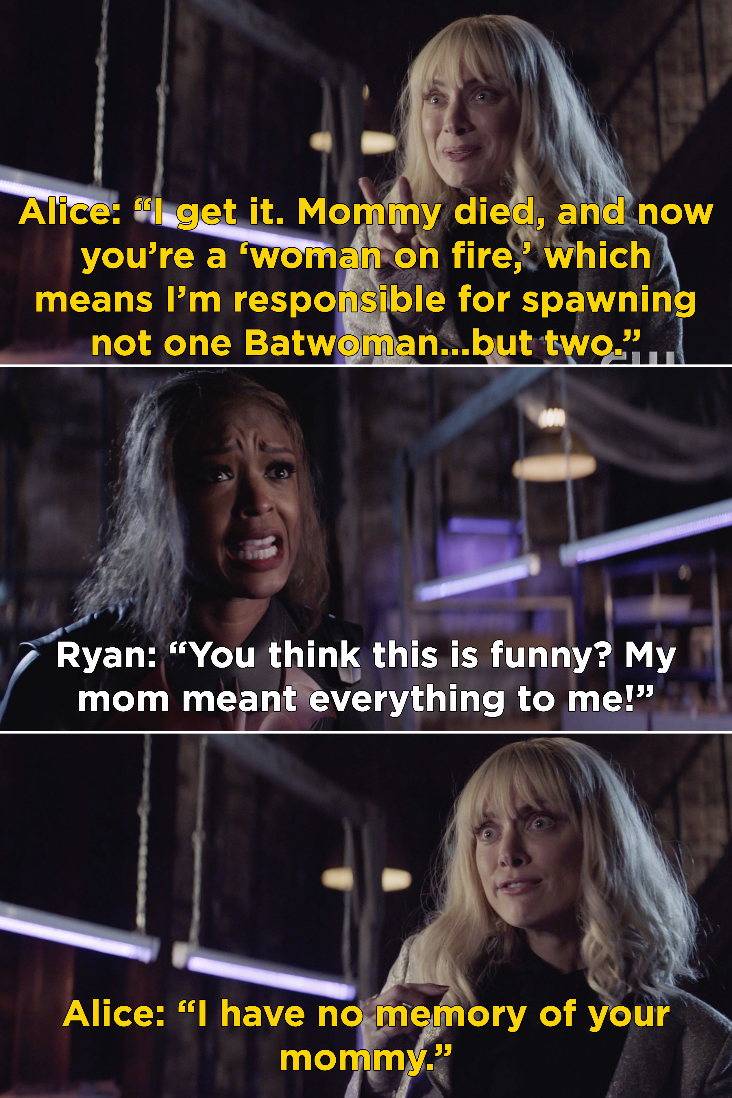 """Alice being proud that she's """"responsible for spawning not one Batwoman...but two"""""""
