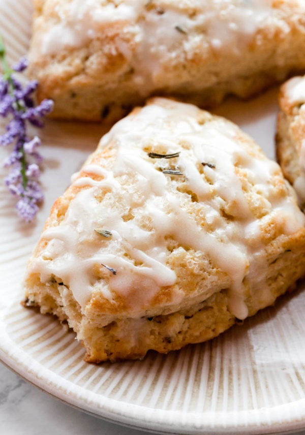 Lavender buttermilk scones with icing.