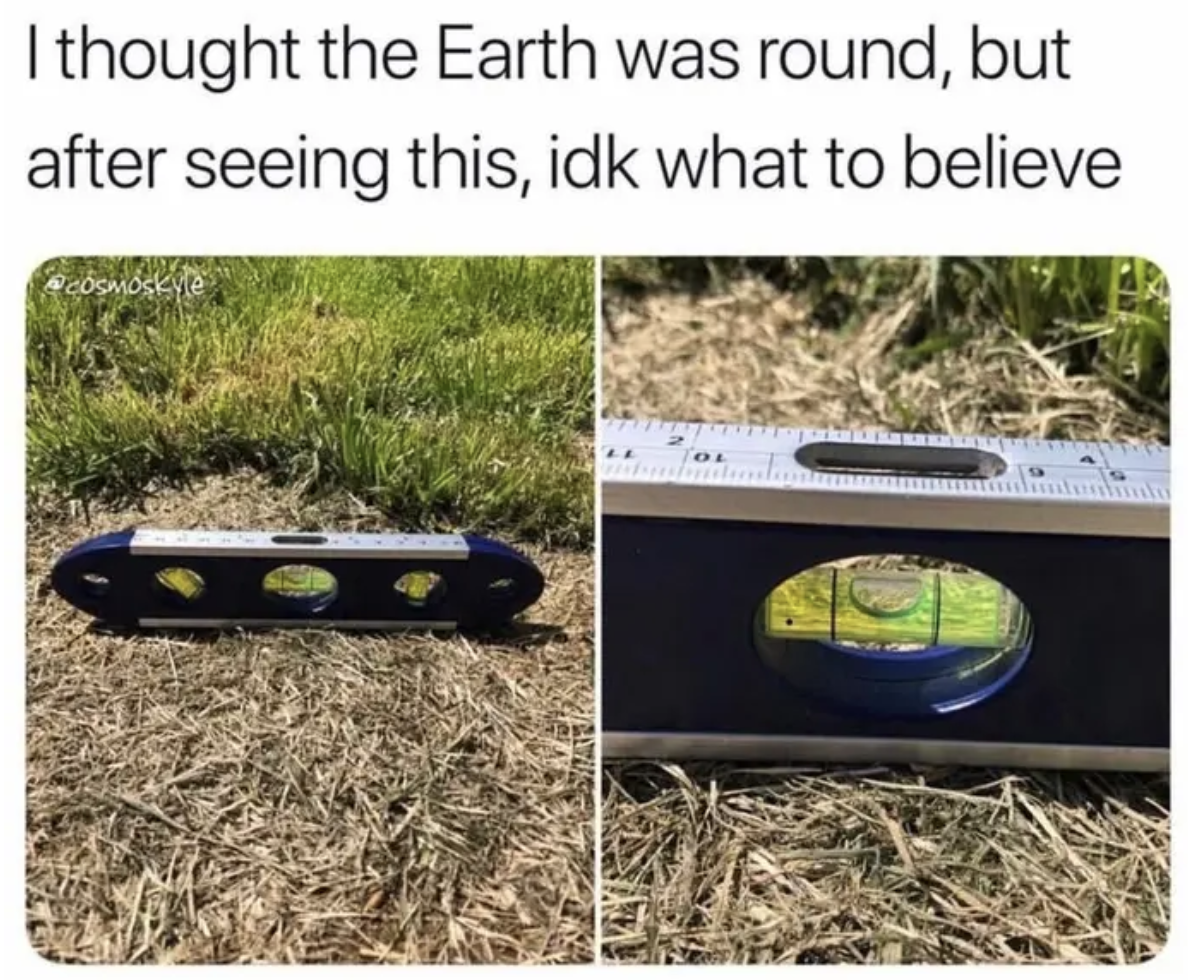 person trying to see if the earth is flat