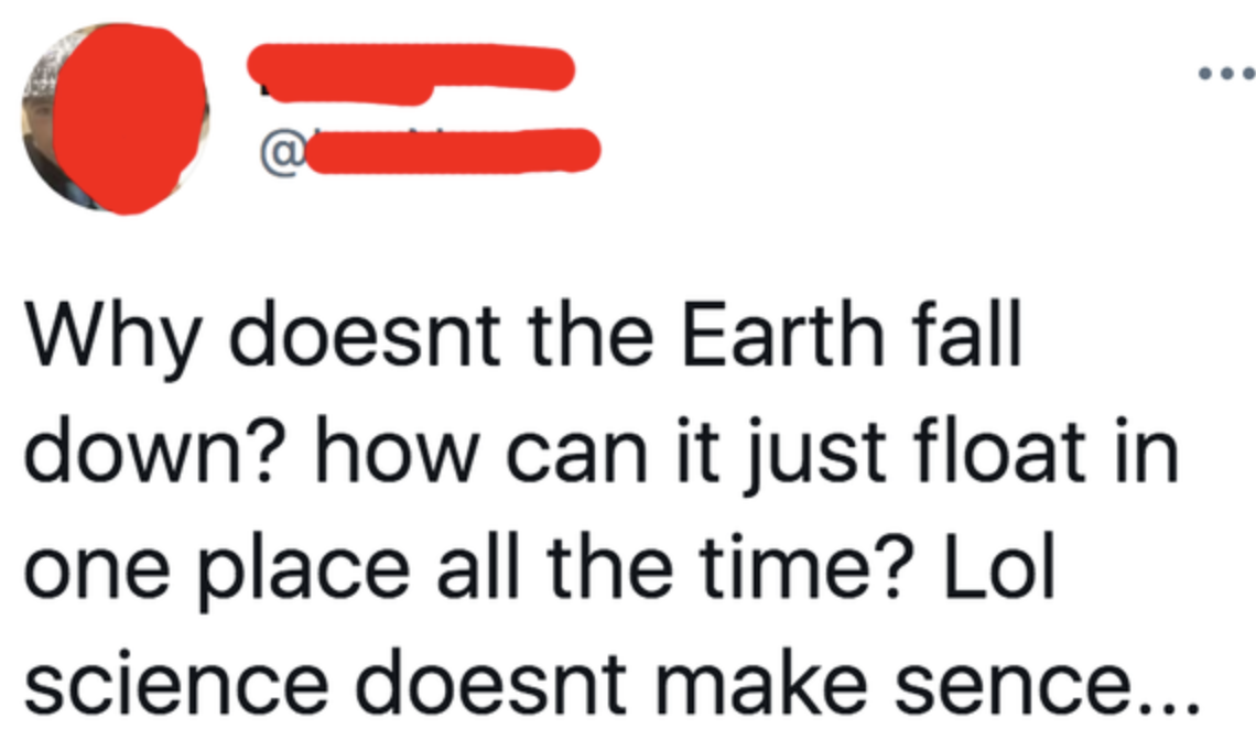person wondering why the earth doesnt fall down despite floating in space