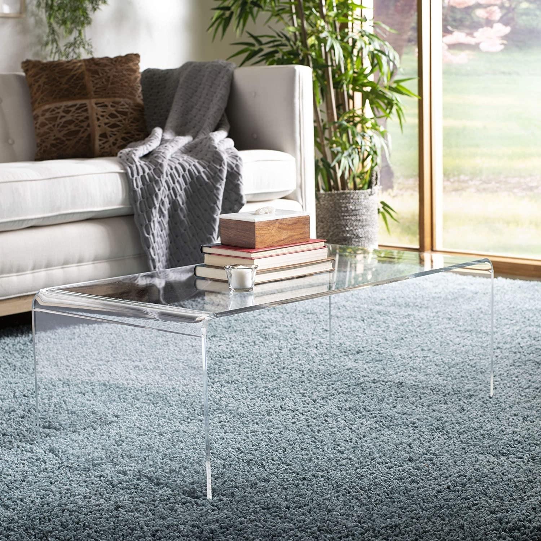 the clear acrylic table