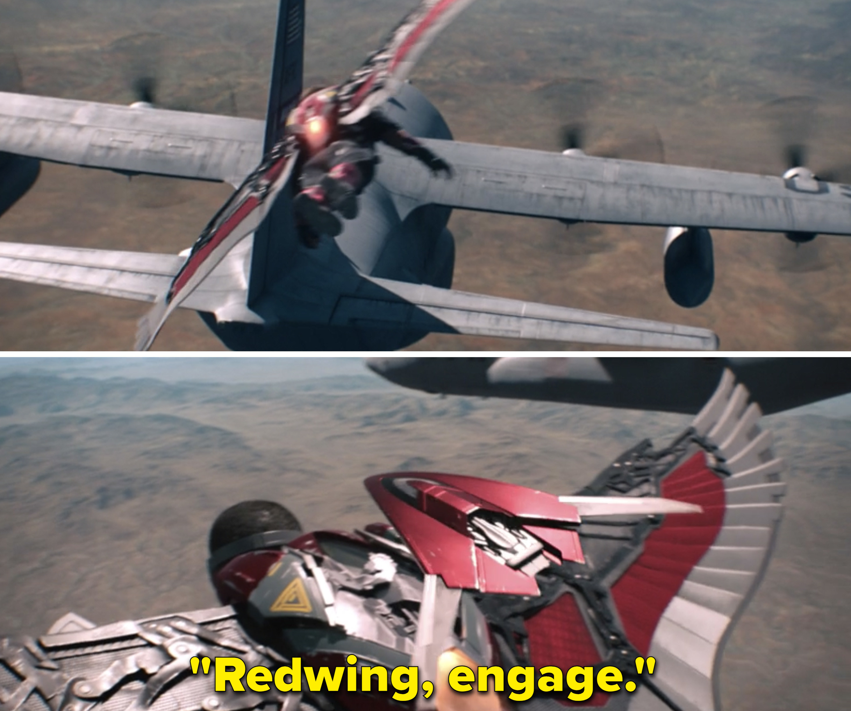"""Sam saying, """"Redwing, engage"""""""