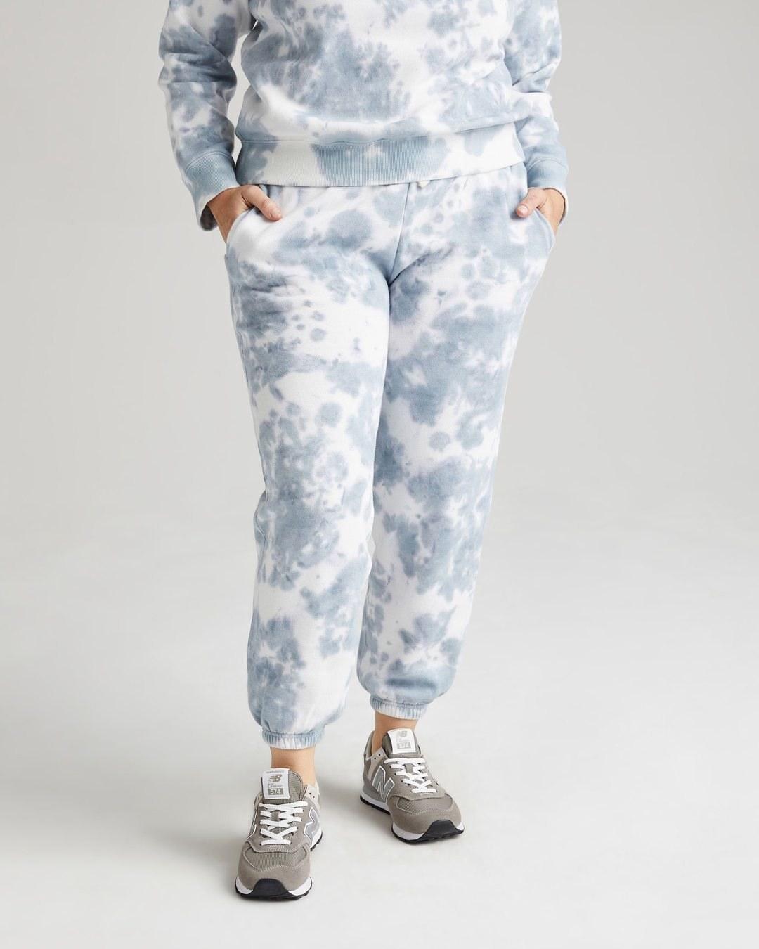 model wearing the blue tie dye pants