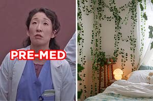 """On the left, Cristina Yang from """"Grey's Anatomy,"""" and on the right, a bedroom with fake vines hanging on the walls"""