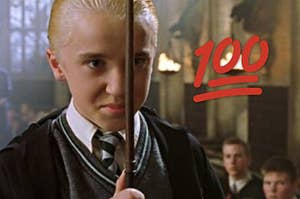 draco malfoy holding his wand in front of his face with a 100 emoji next to him